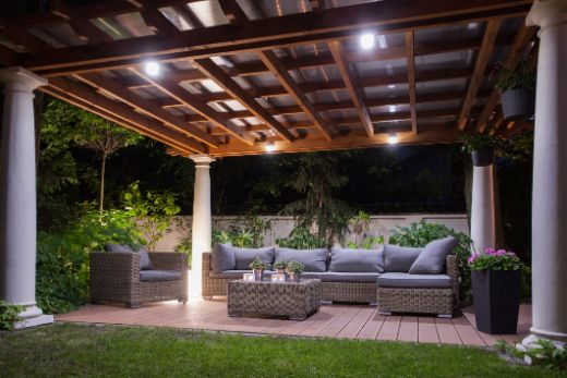 well-lit modern patio with timber decking   carpenters sunshine coast